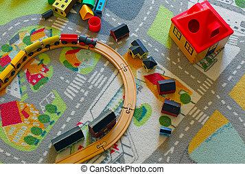 zabawka, drewniany pociąg