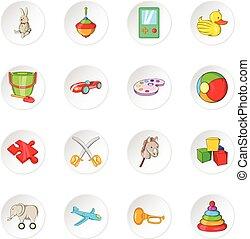 zabawka, ikony, rysunek, styl