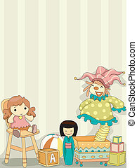 zabawka, klown, tło, lalki