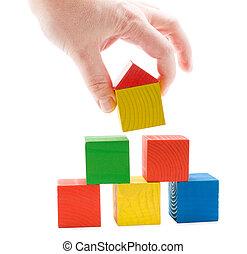 zabawka, kostki, drewniany dom, ręka, piramida, establishes