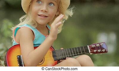 zabawka, słomiany kapelusz, interpretacja, dziewczyna, mały, gitara, uroczy