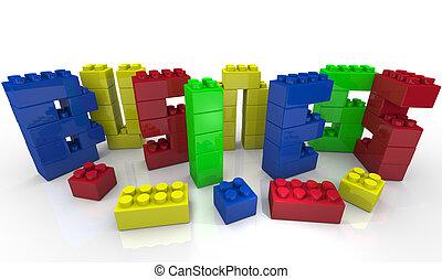 zabawkarskie kloce, kształt, handlowy, -, budować, słowo, twój