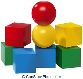 zabawki, komplet, barwny, piłki, kostki