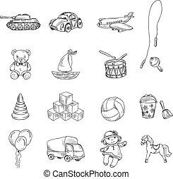 zabawki, rys, komplet, ikony