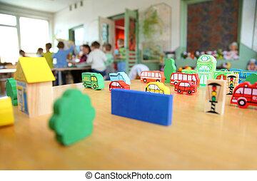 zabawki, w, przedszkole