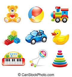 zabawki, wektor, komplet, barwny, ikony