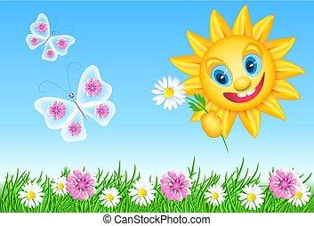 zabawny, łąka, lato, słońce, motyle, stokrotka, kwiaty