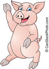 zabawny, świnia