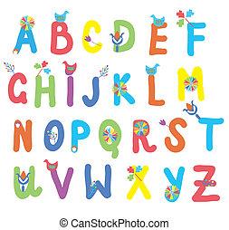 zabawny, alfabet, dla, dzieciaki, z, kwiaty, i, ptaszki