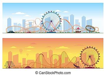 zabawny, barwny, ilustracja, concept., tło, zabawowy park, ...