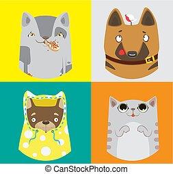 zabawny, barwny, pattern., zbiór, wektor, cats., psy