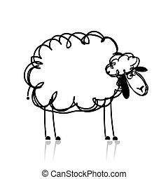zabawny, biała owca, rys, dla, twój, projektować