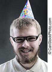 zabawny, broda, młody mężczyzna, portret
