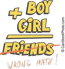 zabawny, chłopiec, równa się, albo, t-shirt, kubek, wektor, plus, friends., druk, dziewczyna, template., design.