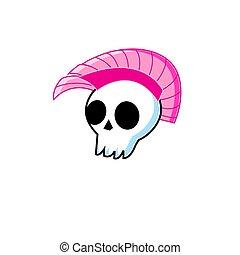 zabawny, czaszka, mohawk, symbol, punk, wektor, biały