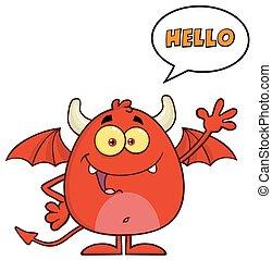 zabawny, diabeł, litera, czerwony