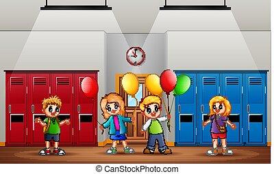 zabawny, dzieci, dzierżawa, przód, balony, klasa
