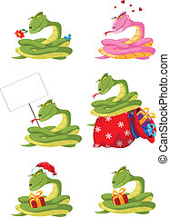 zabawny, dziewczyna, komplet, wąż