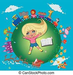 zabawny, dziewczyna, książka, rysunek