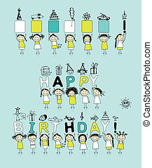 zabawny, dziewczyny, urodziny, projektować, twój, karta