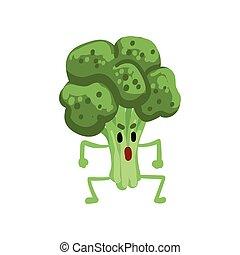 zabawny, gniewny, litera, ilustracja, twarz, wektor, roślina, brokuł