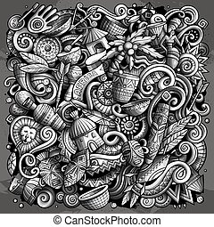 zabawny, illustration., obraz, afryka, monochromia, wektor, afrykanin, doodles, rysunek