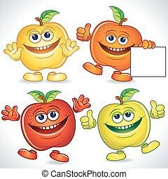 zabawny, jabłka, rysunek