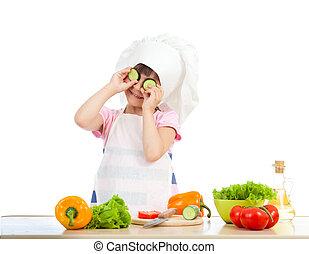 zabawny, jadło, na, mistrz kucharski, zdrowy, przygotowując, tło, dziewczyna, biały