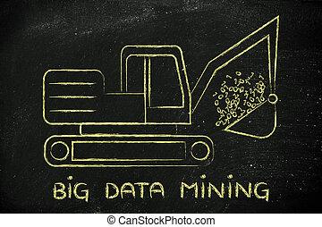 zabawny, kodeks, dwójkowy, cielna, mining:, kopacz, dane, ekstrahujący