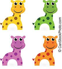 zabawny, komplet, barwny, odizolowany, żyrafa, biały