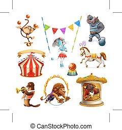 zabawny, komplet, ikony, cyrk, zwierzęta, oczko, wektor