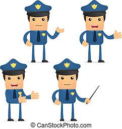 zabawny, komplet, rysunek, policjant