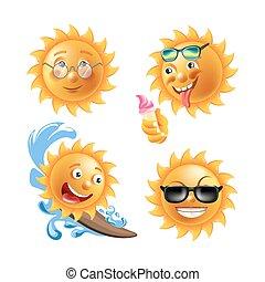 zabawny, komplet, słońce, odizolowany, twarze, ilustracje, godny podziwu
