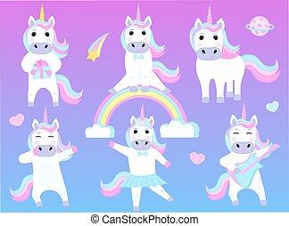 zabawny, komplet, taniec, posiedzenie, gitara, unicorns., rysunek, rainbow., litery, interpretacja