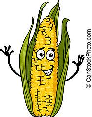 zabawny, kukurydziany kaczan, rysunek, ilustracja