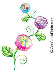 zabawny, kwiat, 3d