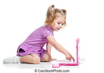 zabawny, laptop, zabawka, interpretacja, dziecko