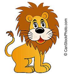 zabawny, lew, młody
