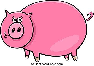 zabawny, litera, ilustracja, świnia, komik, rysunek