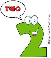 zabawny, litera, liczba dwie, maskotka