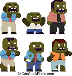 zabawny, litery, pixel, komplet