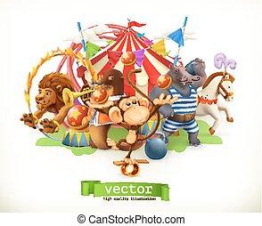 zabawny, małpa, hippo., lew, cyrk, animals., wektor, koń, 3d