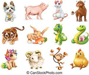 zabawny, małpa, komplet, chińczyk, pies, świnia, 3d, królik, wół, calendar., zodiak, wektor, smok, tiger, zwierzę, ikona, goat, szczur, wąż, rooster., koń