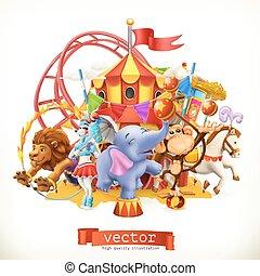 zabawny, małpa, lew, cyrk, animals., wektor, słoń, horse., 3d