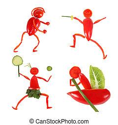 zabawny, mały, robiony, ludzie, zdrowy, warzywa, eating., ...
