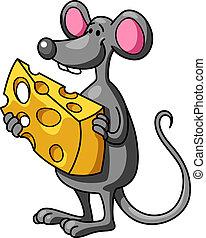 zabawny, mysz, rysunek, ser