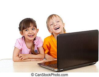 zabawny, na, laptop, tło, używając, biały, dzieci