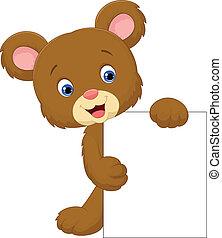 zabawny, niedźwiedź, si, dzierżawa, czysty, rysunek