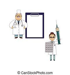 zabawny, olbrzym, pacjent, doktor, wykres, strzykawka
