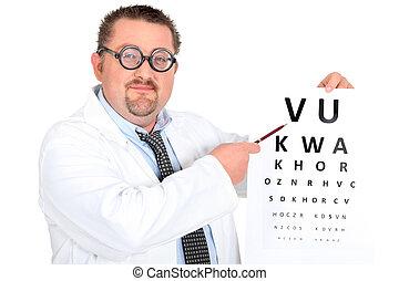 zabawny, ophtalmologist, dwuogniskowy, okulary